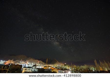 Night sky over the mountain in Leh, Ladakh, India - stock photo