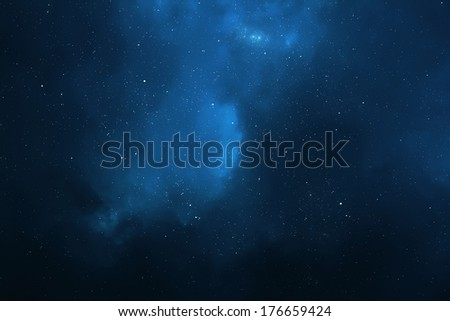 Night sky - Universe filled with stars, nebula and galaxy - stock photo