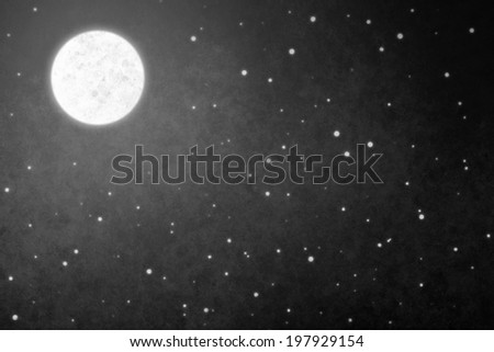 Night sky with a full moon and shining stars - stock photo