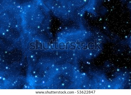 Night sky with blue nebula and stars - stock photo