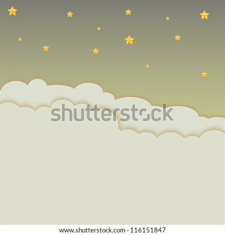 night sky with clouds background, Vector illustration