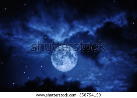 Night sky with clouds stars and full moon - stock photo
