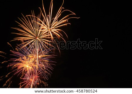 Night sky with fireworks and copy space. - stock photo