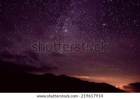 Night sky with lot of shiny stars, natural astro background - stock photo