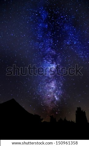 Night sky with milky way and other stars. - stock photo