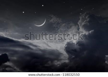 night sky with moon - stock photo