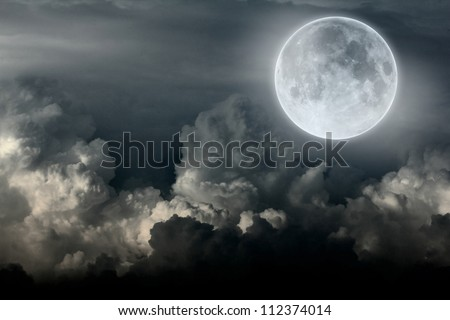 night sky with moon and cloud - stock photo