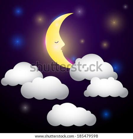Night sky with moon, fairy tale illustration