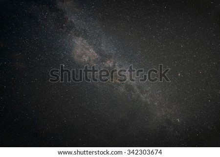 Night sky with stars and galaxies Above - stock photo