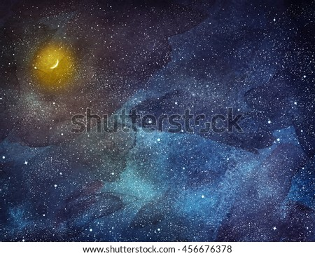 Night sky with stars and moon. Watercolor