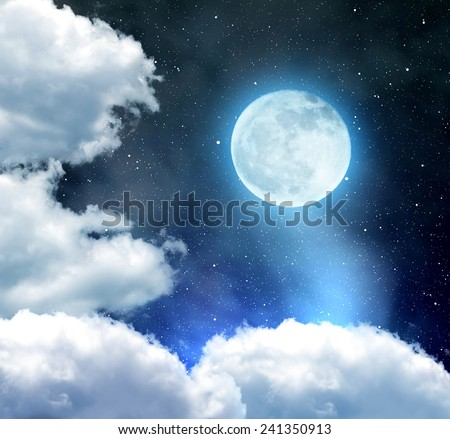 "Night sky with stars, clouds and moon. ""Elements of this image furnished by NASA""."