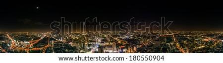 Night skyline of Bangkok from Baiyoke Sky Hotel, the tallest hotel in Southeast Asia ,Thailand - stock photo