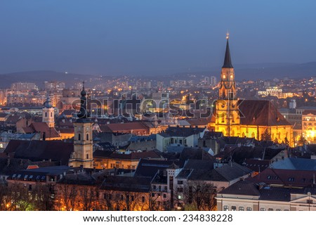 Night skyline of Cluj Napoca, Romania as seen from the Citadel Hill. - stock photo