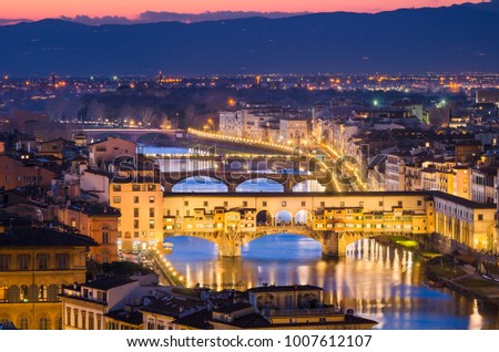 Night skyline of Florence, Italy with Ponte Vecchio