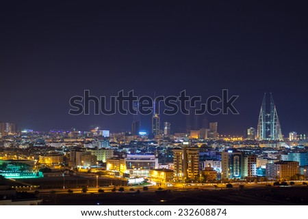 Night skyline of Manama, the Capital city of Bahrain, Middle East - stock photo