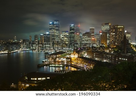 Night skyline of Sydney, Australia - stock photo