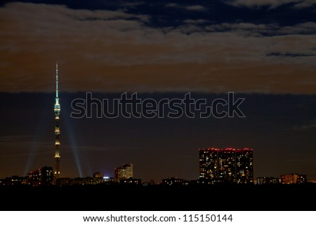 night skyline with Ostankino tower in Moscow