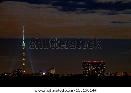 night skyline with Ostankino tower in Moscow - stock photo