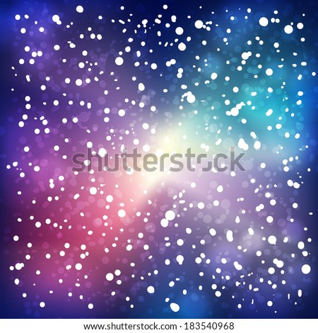 Night snow on space background. Raster version. - stock photo