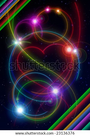 night space with glowing meteor shape in love - stock photo