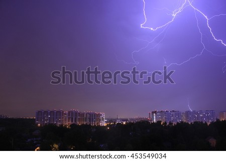 Night storm in Moscow, Russia