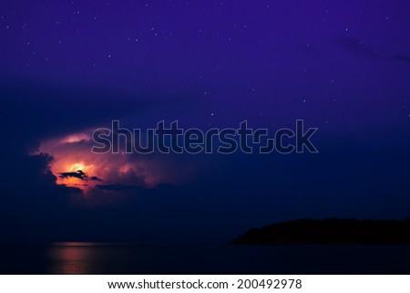 Night storm over the sea  - stock photo