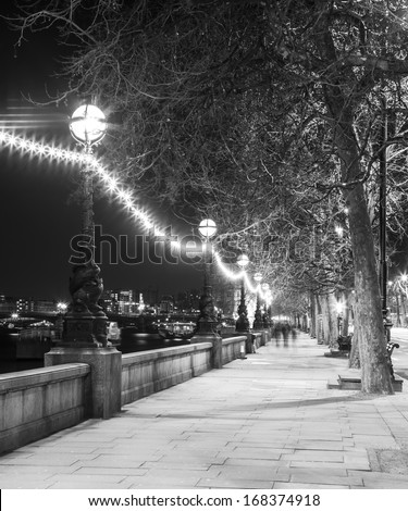 Night street in London at Black and White Color, Britain - stock photo
