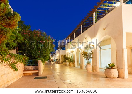 Night street in the town of Budva. Montenegro, Balkans, Europe. Beauty world. - stock photo
