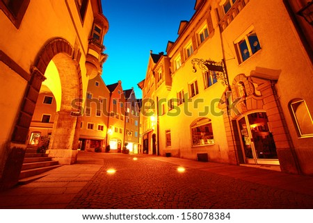 Night street of town of Fussen. Germany - stock photo