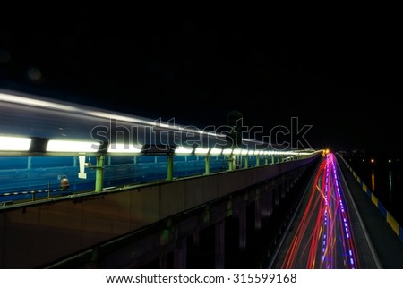 Night subway bridge in Kyiv