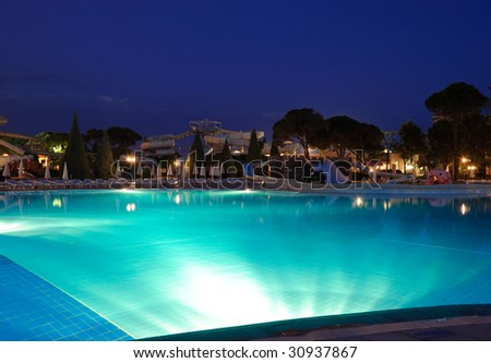 Night swimming pool illumination, Antalya, Turkey