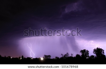 Night thunderstorm with lightnings