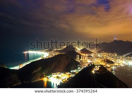 Night time image of Rio de Janeiro, Brazil - stock photo