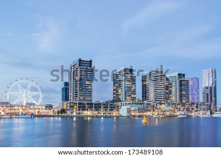 Night time image of the Docklands waterfront at night in Melbourne, Australia - stock photo