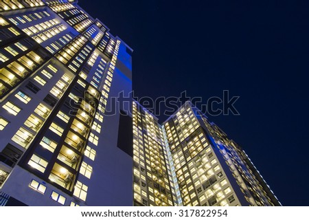 night time of condominium life of City people in modern town - stock photo