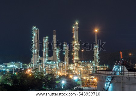 Night time refinery at Sri Racha Thailand