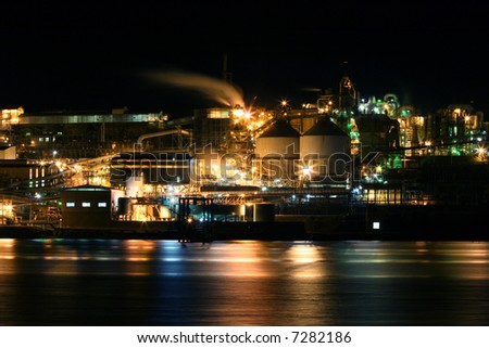 Night time refinery scene