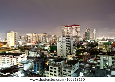 Night time,Train station. Airport Link.Bangkok Thailand. - stock photo