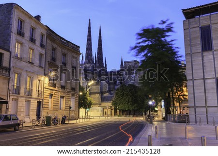night time view cathedrale saint andre Bordeaux France - stock photo