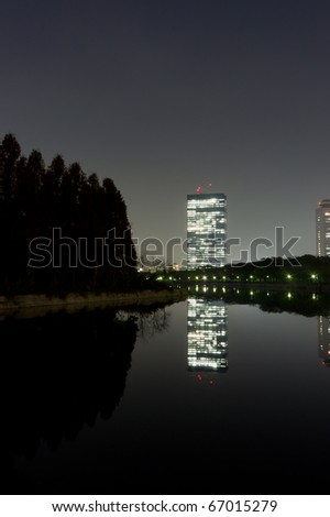 night time view of osaka city in japan - stock photo
