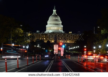 Night time view of Pennsylvania Avenue and the Capitol Building in Washington DC, capital of the United States of America