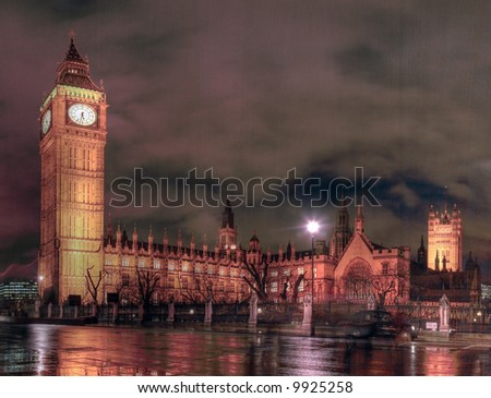 Night time view of the Houses of Parliament from the North Eastern side