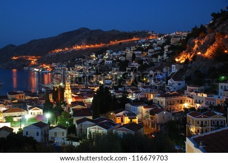 Night time view of Yialos on the Greek island of Symi.