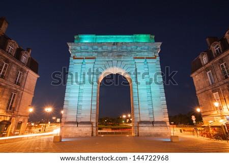 Night time view Porte de Bourgogne, Bordeaux France - stock photo