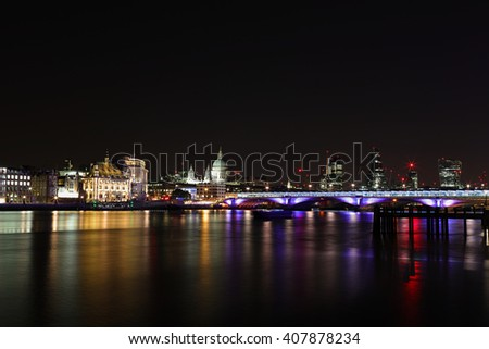 Night time view River Thames