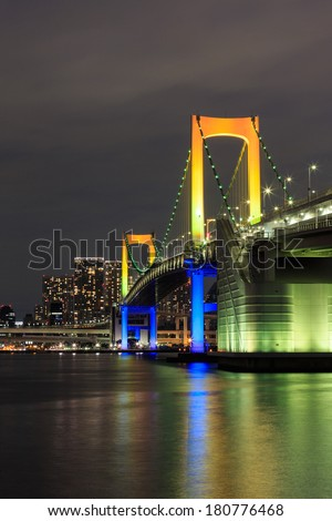 Night Tokyo landmarks,Tokyo Rainbow bridge in Japan