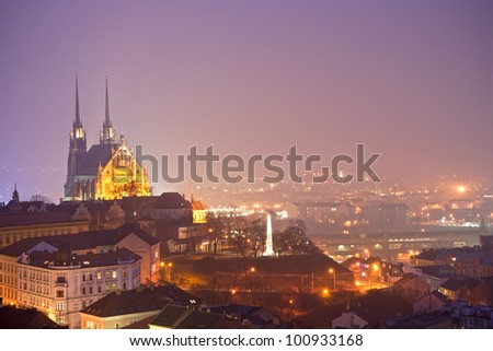 Night town with gothic cathedral - stock photo