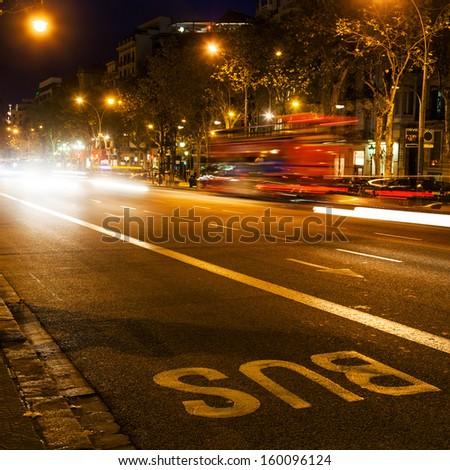 night traffic in Barcelona, Spain - stock photo