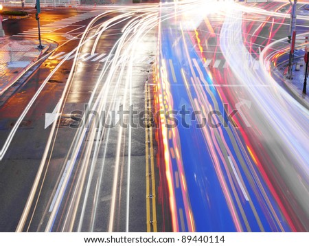 Night traffic in city - stock photo
