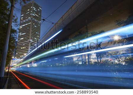 Night Traffic in Hong Kong - stock photo